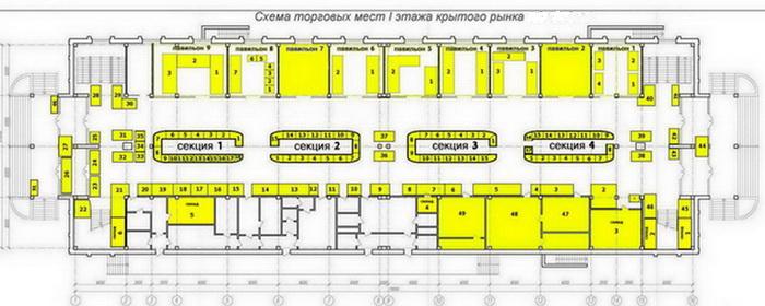 Схема крытого рынка 1 этаж