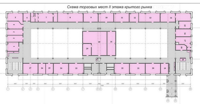 Схема крытого рынка 2 этаж